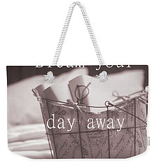 Dream Your Day Away With A Book In A Victorian Bed Weekender Tote Bag by Suzanne Powers
