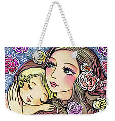 Weekender Tote Bag featuring the painting Dreaming In Roses by Eva Campbell