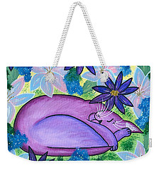 Dreaming Sleeping Purple Cat Weekender Tote Bag