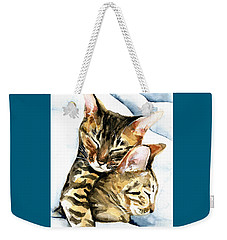 Dreamland - Bengal And Savannah Cat Painting Weekender Tote Bag