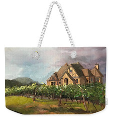 Weekender Tote Bag featuring the painting Dreams Come True - Chateau Meichtry Vineyard - Plein Air by Jan Dappen