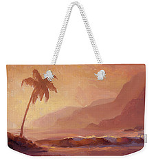 Weekender Tote Bag featuring the painting Dreams Of Hawaii - Tropical Beach Sunset Paradise Landscape Painting by Karen Whitworth