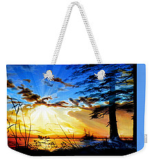 Weekender Tote Bag featuring the painting Dreams Of Sunrise Through The Pines by Hanne Lore Koehler