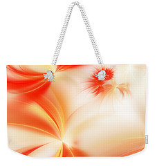 Weekender Tote Bag featuring the digital art Dreamy Orange And Creamy Abstract by Andee Design