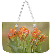 Weekender Tote Bag featuring the photograph Dreamy Parrot Tulips by Ann Bridges