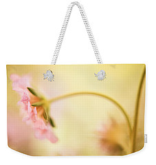 Weekender Tote Bag featuring the photograph Dreamy Pink Flower by Bonnie Bruno