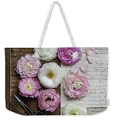 Weekender Tote Bag featuring the photograph Dreamy Ranunculus  by Kim Hojnacki