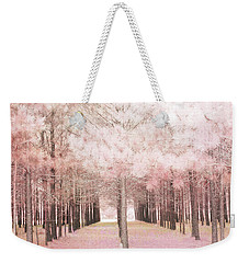 Weekender Tote Bag featuring the photograph Dreamy Shabby Chic Pink Nature Pink Trees Woodlands - Pink Nature Nursery Prints Decor by Kathy Fornal