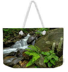 Weekender Tote Bag featuring the photograph Dreamy Waterfall Cascades by Debra and Dave Vanderlaan