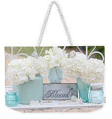Dreamy White Hydrangeas - Shabby Chic White Hydrangeas In Aqua Blue Teal Mason Ball Jars Weekender Tote Bag by Kathy Fornal