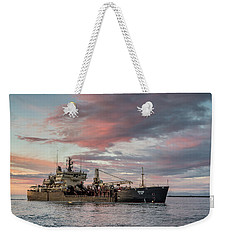 Weekender Tote Bag featuring the photograph Dredging Ship by Greg Nyquist