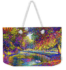 Weekender Tote Bag featuring the painting Drifting Beauties, Swans, Colorful Modern Impressionism by Jane Small