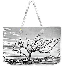 Weekender Tote Bag featuring the photograph Driftwood Beach - Black And White by Kerri Farley