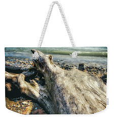 Weekender Tote Bag featuring the photograph Driftwood On Beach - Grant Park - Lake Michigan Shoreline by Jennifer Rondinelli Reilly - Fine Art Photography