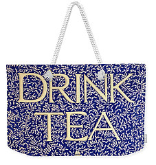 Weekender Tote Bag featuring the drawing Drink Tea by Donna Huntriss