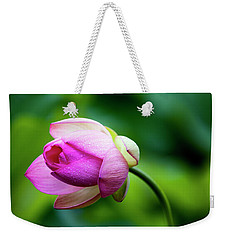 Weekender Tote Bag featuring the photograph Droplets On Lotus by Edward Kreis