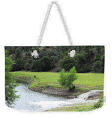Dropped His Line In Bear Dam Lake Weekender Tote Bag by Natalie Ortiz