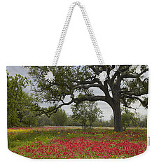Weekender Tote Bag featuring the photograph Drummonds Phlox Meadow Near Leming Texas by Tim Fitzharris