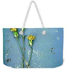 Dry Flowers On Blue Weekender Tote Bag by Jill Battaglia