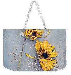 Dry Sunflowers On Blue Weekender Tote Bag by Jill Battaglia