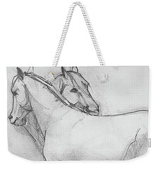 Weekender Tote Bag featuring the drawing Dual Massage Sketch by Jani Freimann