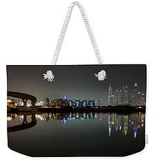 Dubai City Skyline Night Time Reflection Weekender Tote Bag