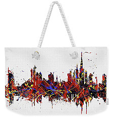Weekender Tote Bag featuring the painting Dubai Colorful Skyline by Dan Sproul