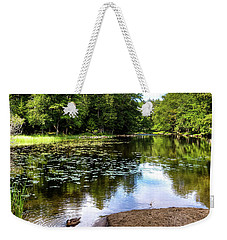 Weekender Tote Bag featuring the photograph Duck At Covewood by David Patterson