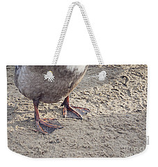 Weekender Tote Bag featuring the photograph Duck Feet In The Sand by Cindy Garber Iverson