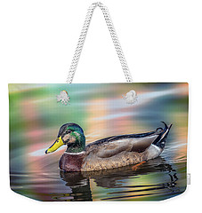 Duck In Water With Autumn Colors Weekender Tote Bag