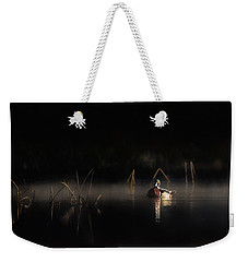 Weekender Tote Bag featuring the photograph Duck Of The Morning Mist by Bill Wakeley