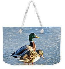 Duck Pair On Frozen Lake Weekender Tote Bag