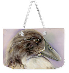 Duck Portrait In Gray And Brown Weekender Tote Bag by MM Anderson