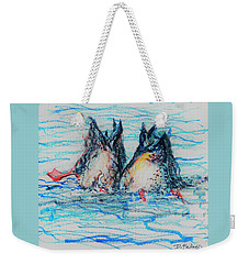 Weekender Tote Bag featuring the mixed media Duck Tails by Denise Fulmer