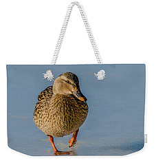 Duck Walk On Ice Weekender Tote Bag