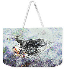 Weekender Tote Bag featuring the photograph Duck With Fine Plumage by Nareeta Martin