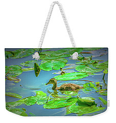Weekender Tote Bag featuring the photograph Duckling In The Green. by Leif Sohlman