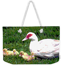 Weekender Tote Bag featuring the mixed media Ducks by Charles Shoup