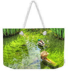 Weekender Tote Bag featuring the pyrography Ducks In The Pond by Yury Bashkin
