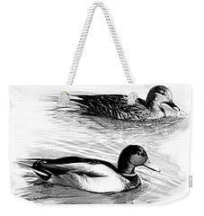 Ducks On The Lake B And W Weekender Tote Bag