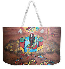 Weekender Tote Bag featuring the painting Duke At Sunset by Marie Schwarzer
