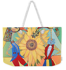Weekender Tote Bag featuring the painting Duke Have A Honey-bee by Marie Schwarzer
