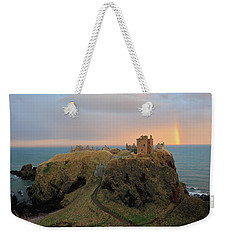 Weekender Tote Bag featuring the photograph Dunnottar Castle Sunset Rainbow by Grant Glendinning
