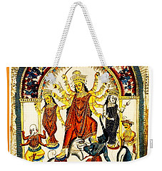 Weekender Tote Bag featuring the digital art Durga by Asok Mukhopadhyay