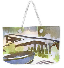 Weekender Tote Bag featuring the painting Dusk At The Boat Dock by Kip DeVore