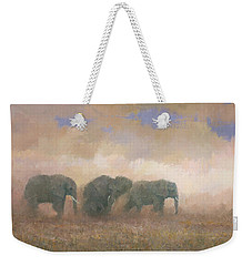 Weekender Tote Bag featuring the painting Dust Riders by Steve Mitchell