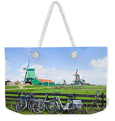dutch windmills with bikes in Zaanse Schans Weekender Tote Bag