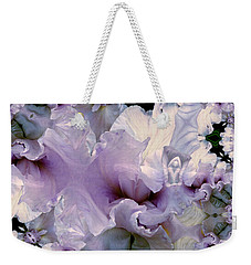 Weekender Tote Bag featuring the photograph Duvet Iris Fractal by Robert Kernodle