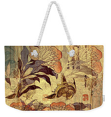 Weekender Tote Bag featuring the photograph Duvet Peony Canary  by Robert G Kernodle