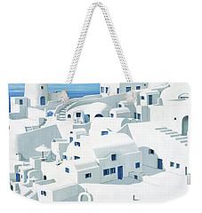 Dwellings, Santorini - Prints From Original Oil Painting Weekender Tote Bag